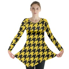 Houndstooth1 Black Marble & Yellow Colored Pencil Long Sleeve Tunic