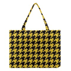 Houndstooth1 Black Marble & Yellow Colored Pencil Medium Tote Bag