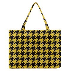 Houndstooth1 Black Marble & Yellow Colored Pencil Zipper Medium Tote Bag