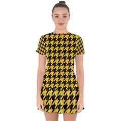 Houndstooth1 Black Marble & Yellow Colored Pencil Drop Hem Mini Chiffon Dress