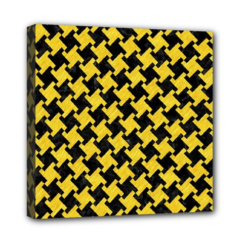 Houndstooth2 Black Marble & Yellow Colored Pencil Mini Canvas 8  X 8