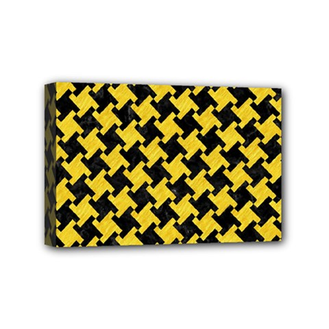 Houndstooth2 Black Marble & Yellow Colored Pencil Mini Canvas 6  X 4