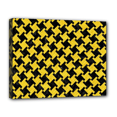 Houndstooth2 Black Marble & Yellow Colored Pencil Canvas 14  X 11