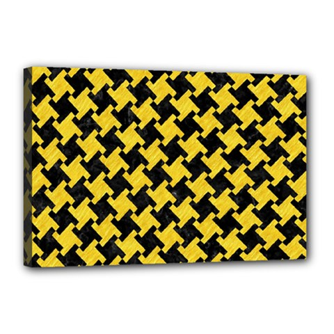 Houndstooth2 Black Marble & Yellow Colored Pencil Canvas 18  X 12