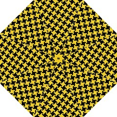 Houndstooth2 Black Marble & Yellow Colored Pencil Golf Umbrellas
