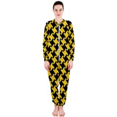 Houndstooth2 Black Marble & Yellow Colored Pencil Onepiece Jumpsuit (ladies)