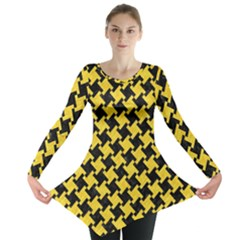 Houndstooth2 Black Marble & Yellow Colored Pencil Long Sleeve Tunic