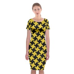 Houndstooth2 Black Marble & Yellow Colored Pencil Classic Short Sleeve Midi Dress