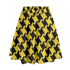 Houndstooth2 Black Marble & Yellow Colored Pencil High Waist Skirt
