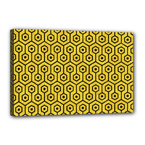 Hexagon1 Black Marble & Yellow Colored Pencil Canvas 18  X 12