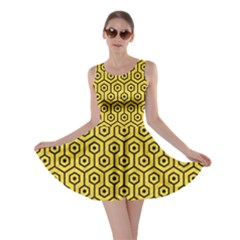 Hexagon1 Black Marble & Yellow Colored Pencil Skater Dress