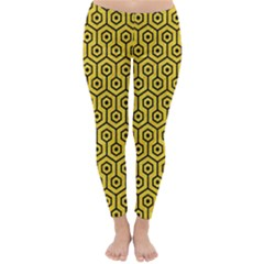 Hexagon1 Black Marble & Yellow Colored Pencil Classic Winter Leggings