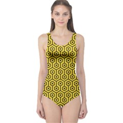 Hexagon1 Black Marble & Yellow Colored Pencil One Piece Swimsuit