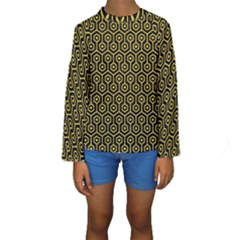 Hexagon1 Black Marble & Yellow Colored Pencil (r) Kids  Long Sleeve Swimwear