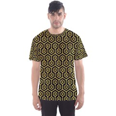Hexagon1 Black Marble & Yellow Colored Pencil (r) Men s Sports Mesh Tee