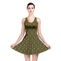 Hexagon1 Black Marble & Yellow Colored Pencil (r) Reversible Skater Dress