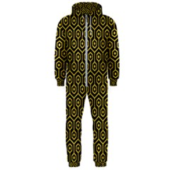 Hexagon1 Black Marble & Yellow Colored Pencil (r) Hooded Jumpsuit (men)