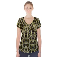 Hexagon1 Black Marble & Yellow Colored Pencil (r) Short Sleeve Front Detail Top