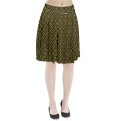 Hexagon1 Black Marble & Yellow Colored Pencil (r) Pleated Skirt