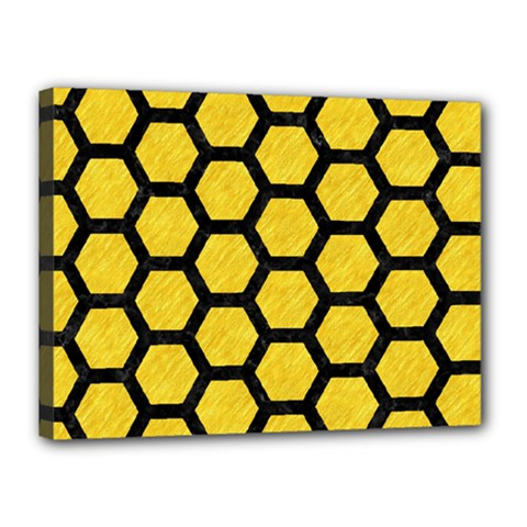 Hexagon2 Black Marble & Yellow Colored Pencil Canvas 16  X 12