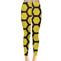 Hexagon2 Black Marble & Yellow Colored Pencil Leggings