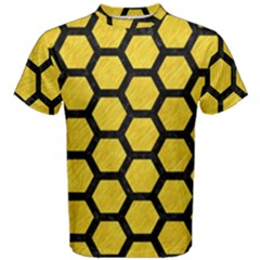 Hexagon2 Black Marble & Yellow Colored Pencil Men s Cotton Tee
