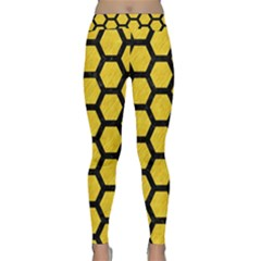 Hexagon2 Black Marble & Yellow Colored Pencil Classic Yoga Leggings