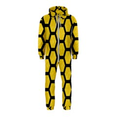 Hexagon2 Black Marble & Yellow Colored Pencil Hooded Jumpsuit (kids)