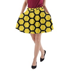 Hexagon2 Black Marble & Yellow Colored Pencil A Line Pocket Skirt