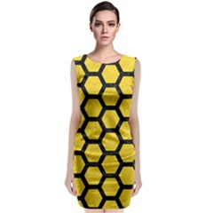 Hexagon2 Black Marble & Yellow Colored Pencil Classic Sleeveless Midi Dress