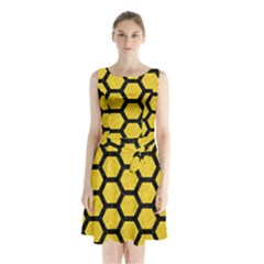 Hexagon2 Black Marble & Yellow Colored Pencil Sleeveless Waist Tie Chiffon Dress
