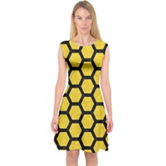 Hexagon2 Black Marble & Yellow Colored Pencil Capsleeve Midi Dress