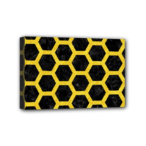 Hexagon2 Black Marble & Yellow Colored Pencil (r) Mini Canvas 6  X 4