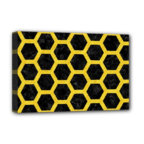 Hexagon2 Black Marble & Yellow Colored Pencil (r) Deluxe Canvas 18  X 12