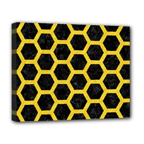 Hexagon2 Black Marble & Yellow Colored Pencil (r) Deluxe Canvas 20  X 16