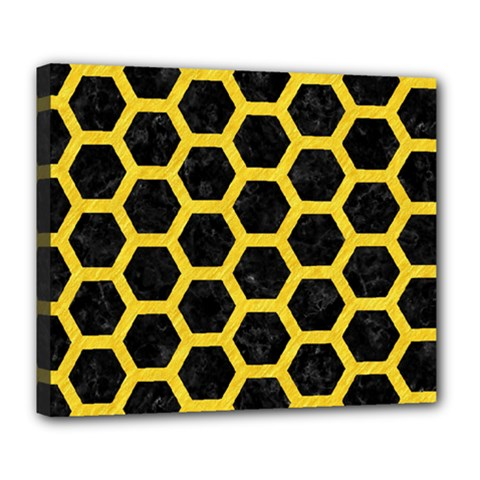 Hexagon2 Black Marble & Yellow Colored Pencil (r) Deluxe Canvas 24  X 20