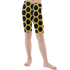 Hexagon2 Black Marble & Yellow Colored Pencil (r) Kids  Mid Length Swim Shorts