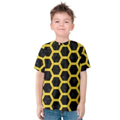 Hexagon2 Black Marble & Yellow Colored Pencil (r) Kids  Cotton Tee