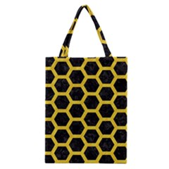 Hexagon2 Black Marble & Yellow Colored Pencil (r) Classic Tote Bag