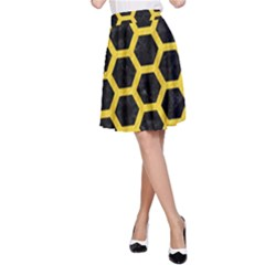 Hexagon2 Black Marble & Yellow Colored Pencil (r) A Line Skirt