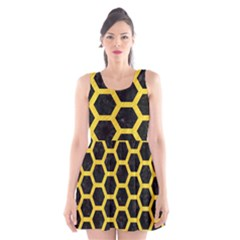 Hexagon2 Black Marble & Yellow Colored Pencil (r) Scoop Neck Skater Dress