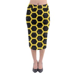 Hexagon2 Black Marble & Yellow Colored Pencil (r) Midi Pencil Skirt