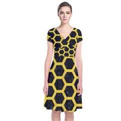 Hexagon2 Black Marble & Yellow Colored Pencil (r) Short Sleeve Front Wrap Dress