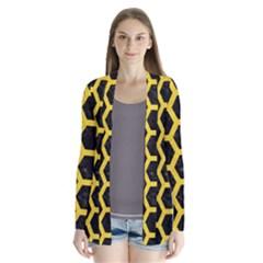 Hexagon2 Black Marble & Yellow Colored Pencil (r) Drape Collar Cardigan