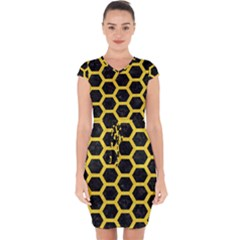 Hexagon2 Black Marble & Yellow Colored Pencil (r) Capsleeve Drawstring Dress