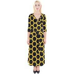 Hexagon2 Black Marble & Yellow Colored Pencil (r) Quarter Sleeve Wrap Maxi Dress