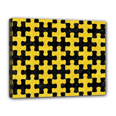 Puzzle1 Black Marble & Yellow Colored Pencil Canvas 14  X 11