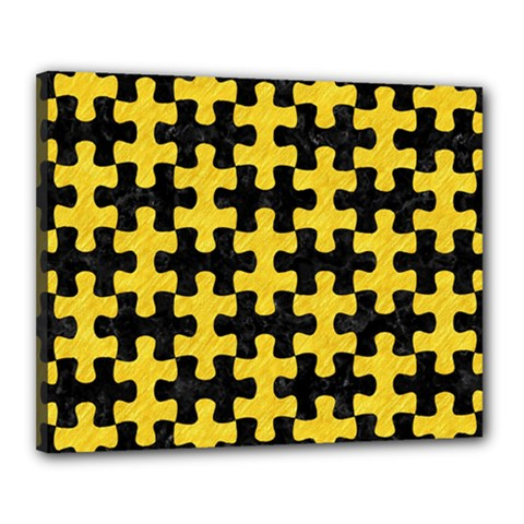 Puzzle1 Black Marble & Yellow Colored Pencil Canvas 20  X 16