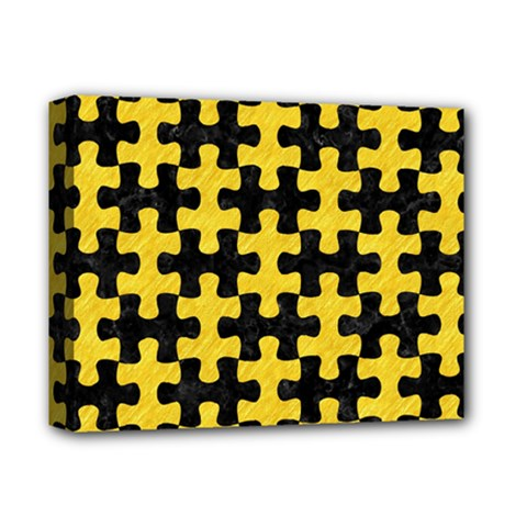 Puzzle1 Black Marble & Yellow Colored Pencil Deluxe Canvas 14  X 11
