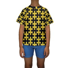 Puzzle1 Black Marble & Yellow Colored Pencil Kids  Short Sleeve Swimwear